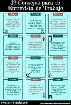 12 Consejos para tu Entrevista de Trabajo #infografia http://seo-rebeldesonline.com/analizar-palabras-clave/