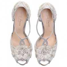 Charlotte by Rachel Simpson Silver Leather Vintage T-Bar Designer Wedding Party or Occasion Shoes
