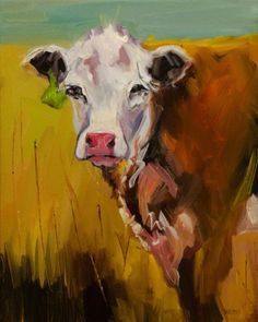 Cow CATTLE ANIMAL ART ARTOUTWEST Diane Whitehead fine art, original painting by artist Diane Whitehead | DailyPainters.com