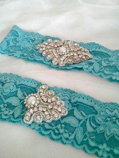 Tiffany Blue Wedding garter Set Custom by MadamePearlJewelry, $27.00 LOVE THIS FOR MY SOMETHING BLUE!