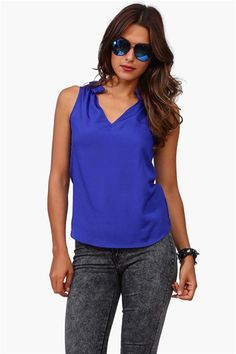 Rouge Collared Top in Royal Blue