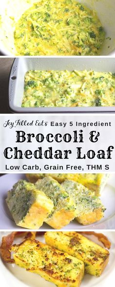 Broccoli & Cheddar Loaf - Low Carb, Grain & Gluten Free, THM S - This is a great breakfast, lunch, side dish, or snack. It mixes up in 5 minutes and has only 5 ingredients. It is nut free, grain free, gluten free, and a THM S. It also reheats well on busy