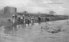 Het Harlinger zeezwembad aan de Westerzeedijk, circa 1910.