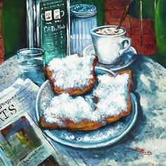 """A Beignet Morning"" by Dianne Parks - available through Fine Art America - a great scene of the famous Cafe du Monde in New Orleans"