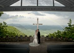 Amanda and Eric at Pretty Place (Fred W. Symmes Chapel) in the mountains of South Carolina.  Touch of Grace Photography was VERY lucky to have such an amazing rainbow as the backdrop of their wedding photo.