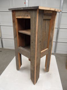 Primitive side table, barnwood nightstand, rustic nightstand, cabin decor, cottage chic, old west nightstand. $249.99, via Etsy.