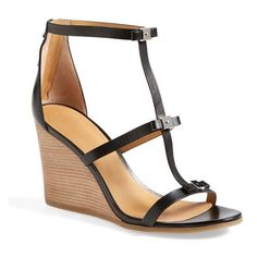 Women's MARC BY MARC JACOBS Cube Bow Leather Wedge Sandal ($290) ❤ liked on Polyvore featuring shoes, sandals, greek leather sandals, wedges shoes, caged gladiator sandals, wedge heel sandals and leather wedge shoes