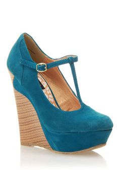 cute teal tstrap with stacked wedge heel.  A little retro, a little modern. Wish I could walk in these!