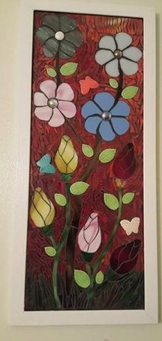 Framed flower Mosaic Chalk Paint Projects, Mosaic Flowers, Flower Frame, Stained Glass, Painting, Art, Art Background, Painting Art, Kunst