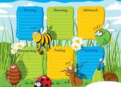 School timetable insects in a flower meadow Vector Image , Educational Games For Preschoolers, Printable Activities For Kids, Classroom Charts, Classroom Jobs, Free Vector Images, Vector Free, School Timetable, Boarder Designs, Weekly Planner Template