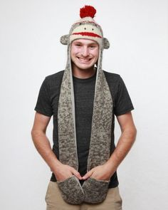 Delux Sock Monkey Animal Hat Hood « Clothing Adds for your desire