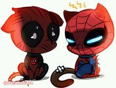 Chibi neko kawaii~ Deadpool Kawaii, Deadpool Chibi, Deadpool X Spiderman, Spiderman Kunst, Chibi Marvel, Deadpool Funny, Marvel Heroes, Marvel Comics, Chibi Spiderman