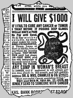 M0014464 Quack advert for the cure of cancer