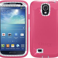 Swarovski Crystal Otterbox Defender Case Cover for Samsung Galaxy S4 with Belt Clip (Pink)