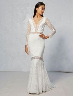 Modern long sleeve contemporary wedding dress by I&A. Ivy & Aster is bohemian romance personified, and their 2017 collection of fresh, flowing and feminine wedding dresses is nothing short of a delight. Gowns With Sleeves, Lace Sleeves, Ivy And Aster, 2017 Bridal, 2017 Wedding, Bridal Gowns, Wedding Gowns, Long Sleeve Gown, Column Dress