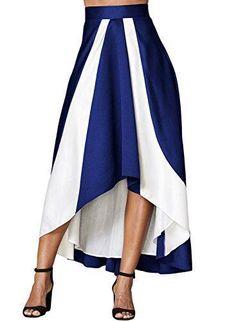 5a6694b07deb8 High Waist A-Line Pleated Maxi Skirt-Blue