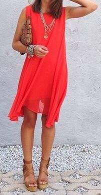 Love this bright and short yet flowy dress.