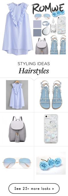 """ROMWE: Striped Dress"" by nadiahirbah288 on Polyvore featuring Skinnydip, Ray-Ban, Urbanears and Clé de Peau Beauté"