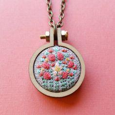 Flower Garden Mini Hoop Necklace. Embroidered Necklace. Hand Embroidery. Jewelry. Flower Embroidery. Wearable Art. Pendant. Hoop Art. Charm.