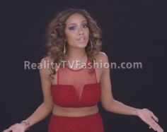 "Erica Mena's ""Love And Hip Hop"" Check Yourself Hot Miami Styles Red Shimmer Mesh Accent Two Piece Set"