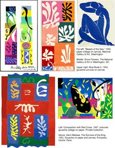 After looking at the work of Matisse, focus on his later work on paper collage. Explain why Matisse turned to cutting, ripping paper and look at the techniques he used. Focus on color and shape,