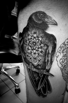 Raven detailed with Mandala on its chest, black and with. on branch raven tattoo. Future Tattoos, Love Tattoos, Beautiful Tattoos, Tatoos, Crow Tattoos, Phoenix Tattoos, Ear Tattoos, Tattoo Pics, Kunst Tattoos
