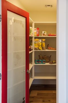Traditional Pantry with Mahogany 1-Lite PANTRY Acid Etched Frosted Glass, French doors, Built-in bookshelf, Hardwood floors