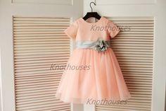 Pink Sequin Flower Girl Dress Silver Gray Flower Belt Short Sleeves Children Toddler Junior Bridesmaid Dress for Wedding Party