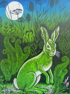 The witch hare - linocut print by Teresa Winchester, £145.00