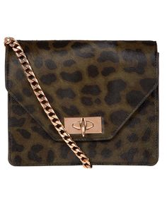 Givenchy Khaki Leopard Print Ponyskin Shoulder Bag | Bags by Givenchy | Liberty.co.uk