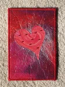 Fabric Postcard - heart, beads
