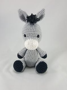 Amigurumi Crochet Donkey Stuffed Animal pattern by Happy Hook Designs. #crochet #yarn #amigurumi #stuffedanimal