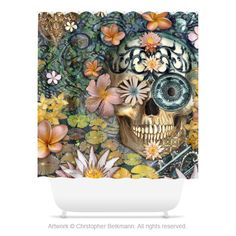 """""""Bali Botaniskull"""" - Balinese inspired floral sugar skull shower curtain. Customize your bathroom with unique shower curtains designed by artist Christopher Beikmann. Made from 100% polyester, these a"""