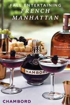 Serve a signature cocktail that's worthy of your fall soiree thanks to this recipe for a French Manhattan. Using Chambord Black Raspberry Liqueur, Woodford Reserve® bourbon, and bitters, this drink can easily be shaken together all autumn long. Types Of Alcoholic Drinks, Drinks Alcohol Recipes, Holiday Drinks, Summer Drinks, Bar Drinks, Cocktail Drinks, Chambord Cocktails, Vodka, Manhattan Cocktail
