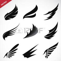 tatouage plume: Vector aile noire icons set sur fond blanc