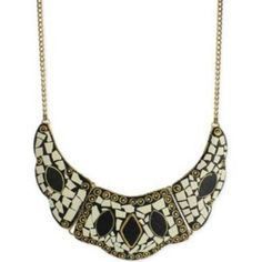 White & Black Inlay Stone Chip Gold Tone Necklace