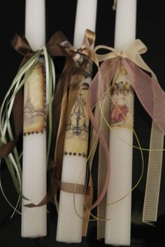 Easter Candles Easter Crafts, Easter Ideas, Decoupage, Happy Easter, Christening, Candle Holders, Projects To Try, Gift Wrapping, Diy Crafts