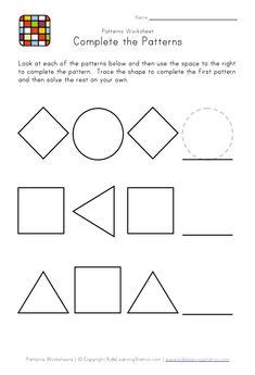Printables Preschool Pattern Worksheets finish the pattern good for assessment math activities prek kindergarten worksheets easy preschool patterns worksheet 1 black and white