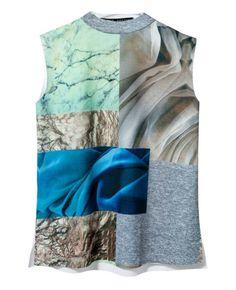 Sleeveless Printed High-neck T-shirt