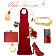Alpha Omicron Pi evening gown outfit created by Leslie Anne