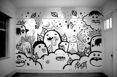 This hand-painted wall was done by Frank Casazza and Edge Creative Colletive members. This hand-painted wall was done by Frank Casazza and Edge Creative Colletive members in Doodle Wall, Doodle Art Drawing, Wall Drawing, Doodle Doodle, Art Et Design, Wall Design, Graphic Design, Graffiti Art, School Murals