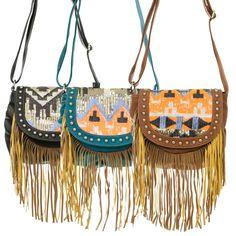 Fringe Aztec Geometric Sequins Design Cross Body Messenger Bag #GetEverythingElse #MessengerCrossBody