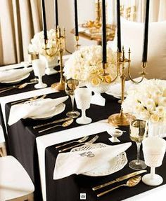 Black candles and whites flowers>>> Black, White and Gold Table Setting - Art Deco Wedding Style - Vintage Wedding Black Candles, Taper Candles, Long Candles, Candle Wax, Wedding Decorations, Table Decorations, Table Centerpieces, Wedding Centerpieces, Christmas Decorations