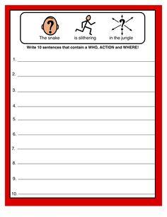 Simple Sentence Structure: Making Complete Sentences - Use AAC systems/devises. Grammar Sentences, Simple Sentences, Complete Sentences, Speech Language Therapy, Speech Language Pathology, Speech And Language, Speech Therapy Activities, Teaching Activities, Simple Sentence Structure