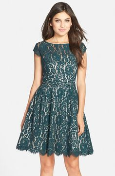 Eliza J Cap Sleeve Lace Fit & Flare Dress available at #Nordstrom