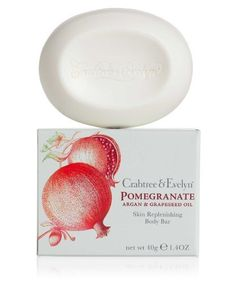 Crabtree & Evelyn Pomegranate, Argan & Grapeseed - Scented Single Soap by Crabtree & Evelyn. $6.00. Fragranced with the tart sweetness of pomegranate coupled with a burst of citrus and fresh fig leaf, this vegetable-base body bar contains a blend of pomegranate, argan, and grapeseed oils, which are known for their moisturising qualities.