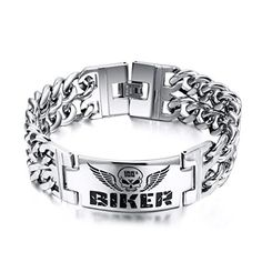 SumBonum Jewelry Mens Stainless Steel Bracelet, Gothic Skull Wings Charm Wide Heavy Biker Links, Black Silver,9 by SumBonum -- Awesome products selected by Anna Churchill