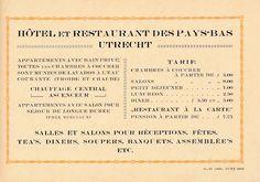 Hotel des Pays Bas te Utrecht, Janskerkhof 10 te Utrecht. Reclamefolder, tekst binnenwerk, gedateerd juni 1923. Het pand en hotel kreeg in 1922 een nieuwe eigenaar en werd in 1922/1923 verbouwd waarbij het een extra verdieping kreeg. Het hotel werd vanaf 1 februari 1923 geleid door Th.N. van Stigt.