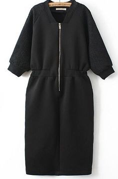 To find out about the Black V Neck Long Sleeve Zipper Dress at SHEIN, part of our latest Dresses ready to shop online today! Trendy Dresses, Casual Dresses, Casual Outfits, Hijab Casual, Hijab Fashion, Fashion Dresses, Look Plus Size, Mode Streetwear, Sweatshirt Dress