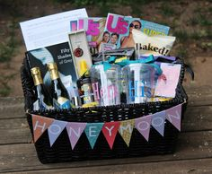 Love this--honeymoon gift basket made for the bride and groom by the bridesmaids